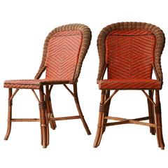Couple of Chairs in Natural Fiber, France, 1960