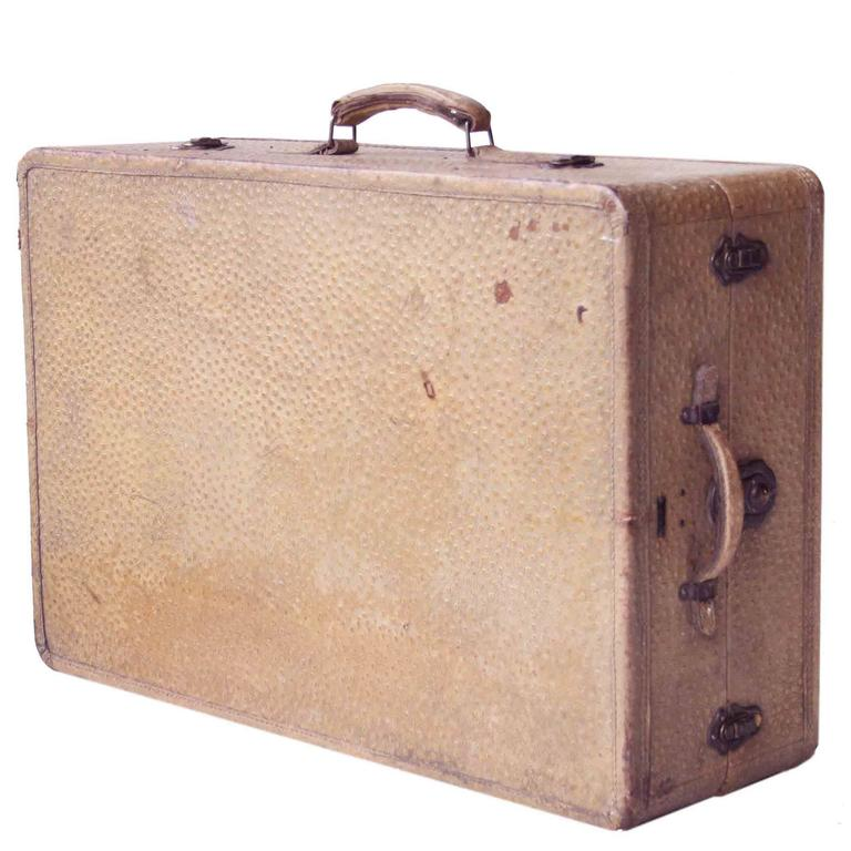 Large Mexican Leather Suitcase. Mexico, 1950.
