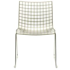 Set of Four Clear and Gold Marco Maran X3 Dining Side Chairs by Knoll, USA
