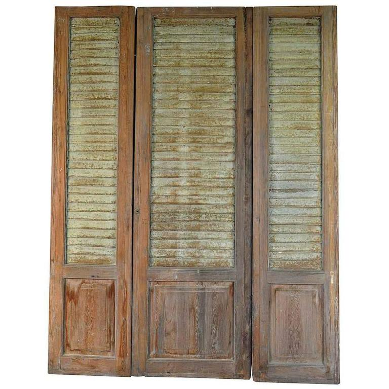 French Set of Three Doors with Metal Louvered Shutters For Sale