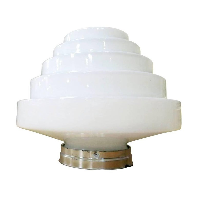 Stepped Art Deco Skyscraper Ceiling Mounted Globe with Fixture **Saturday Sale**