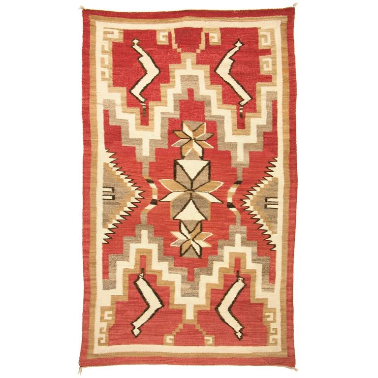 Vintage Pictorial Navajo Rug With Snake Pattern Circa