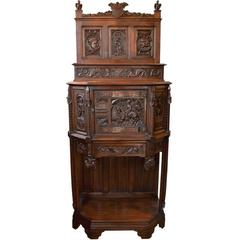 Antique Gothic Revival Hand-Carved Cabinet on Stand