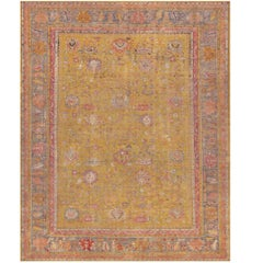 Late 19th Century Wool Hand-Woven Oushak Rug from West Anatolia