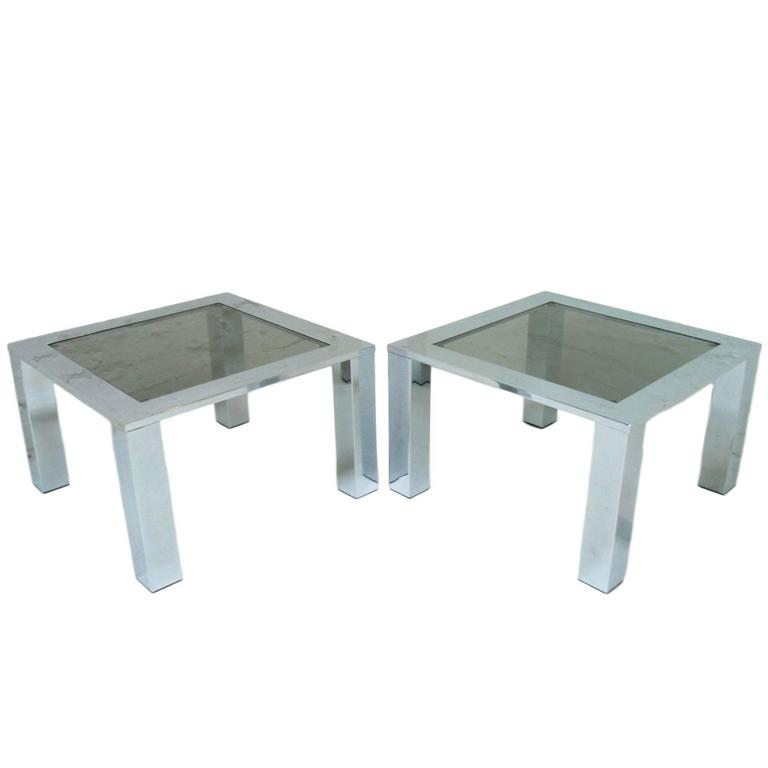 Pair of Large Chrome and Glass Coffee Tables, Europe, circa 1978