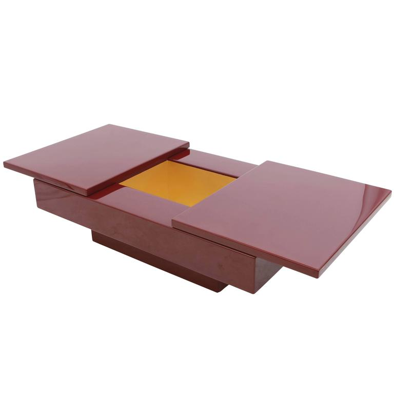 Red Lacquered Sliding Bar Coffee Table