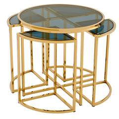 Four Pieces Side Table in Gold Finish or Polished Stainless Steel