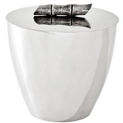 Bamboo Ice Bucket in Nickel Finish and Silver Plated
