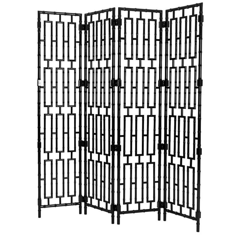 Bamboo Folding Screen in Solid Mahogany Black Lacquered