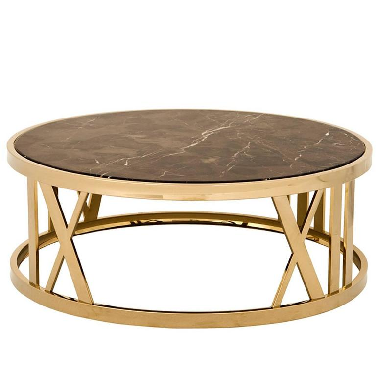 Gold Gilt Versailles Marble Top Coffee Table: Romain Coffee Table In Gold Finish And Brown Marble For