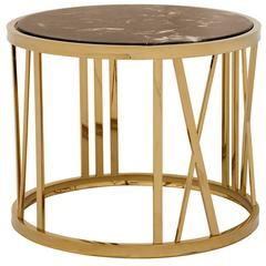 Romain Side Table in Gold Finish and Brown Marble