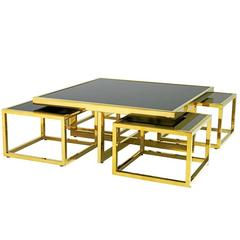 Square Four Pieces Coffee Table Gold Finish or Polished Stainless Steel