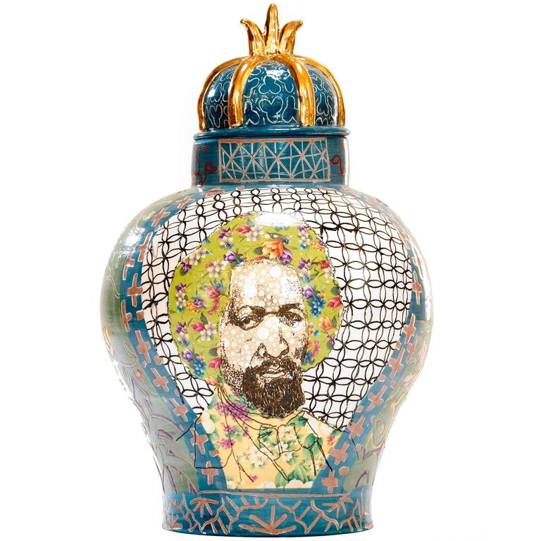 Contemporary Frederick Douglass / Arthur Ashe Decorative Porcelain Urn 1