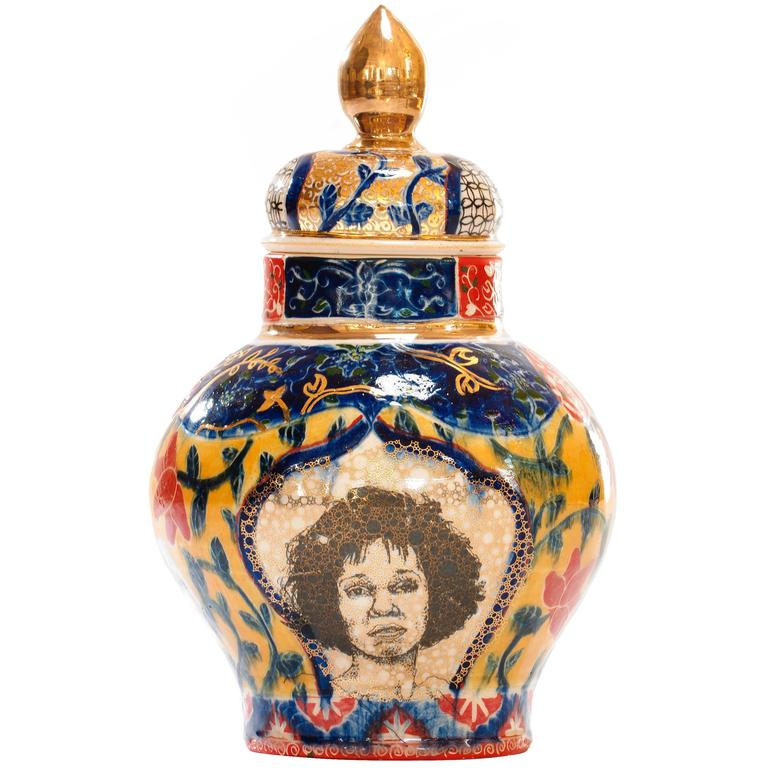 Contemporary Whitney Houston / Shirley Chisholm Decorative Porcelain Urn For Sale