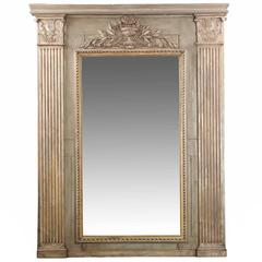 French Neoclassical Period Carved and Painted Wall Mirror