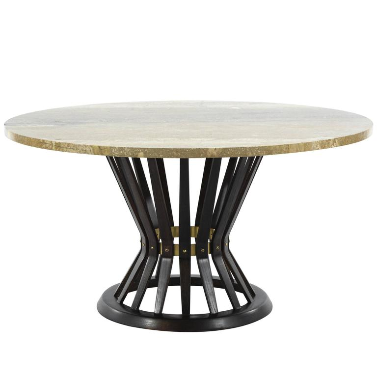 Narrow Rectangular Brass And Marble Coffee Table By Edward: Coco Chanel Style Sheaf Of Wheat Gilt Metal Coffee Table