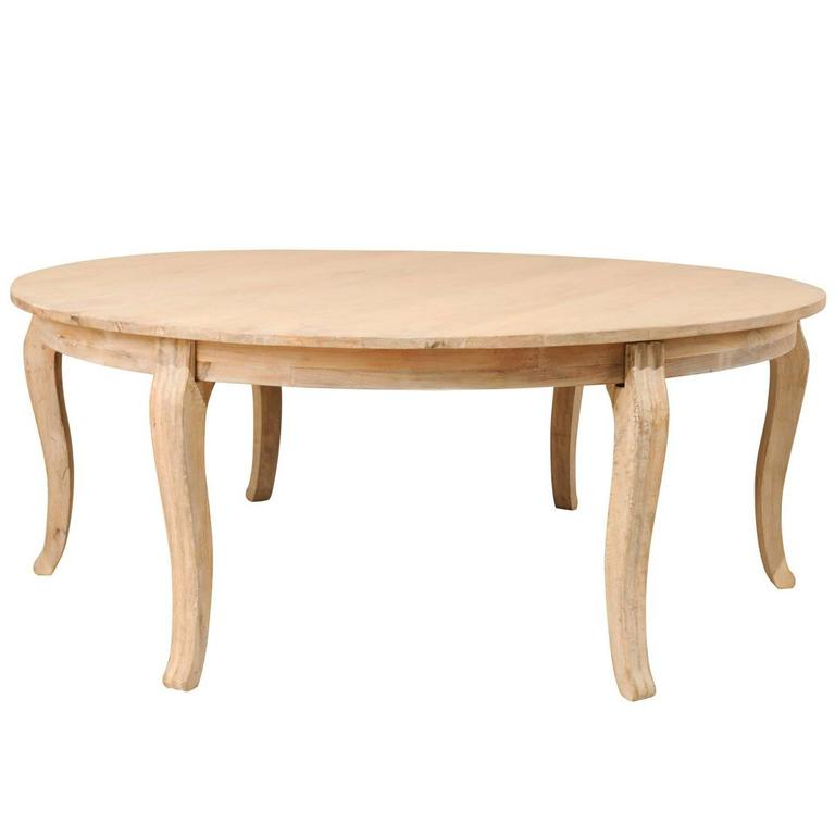 Lovely round bleached wood large dining table with for Large round wood dining room table