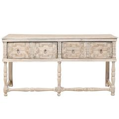 English 18th Century Console Table in Bone, Grey & White with Geometric Pattern