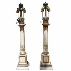 Pair of French Tole Painted Column Form Lamps, 19th Century