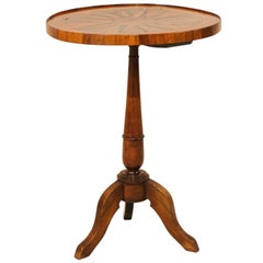 Italian 19th Century Round Fruitwood Pedestal Table with Compass Star Inlay