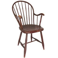 Early 19th Century Pennsylvania Oxblood Red Bowback Windsor Armchair