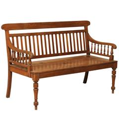 British Colonial Style Teak Wood Bench with Slats on the Backrest & Turned Legs