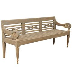 Colonial Hand Carved Teak Wood Daybed Bench For Sale At