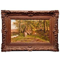 Impressionist Oil on Canvas Depicting Sheep Enjoying Grazing, Late 19th Century