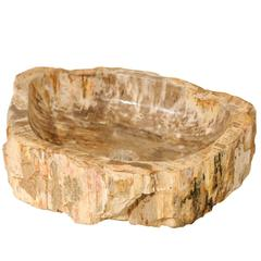 Petrified Wood Sink, Carved & Polished Featuring Warm Tan, Beige & Brown Hues