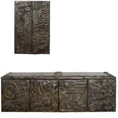 Paul Evans Matched Pair Of Sculpted Bronze Floating Cabinets w/ Pull-Out Drawers