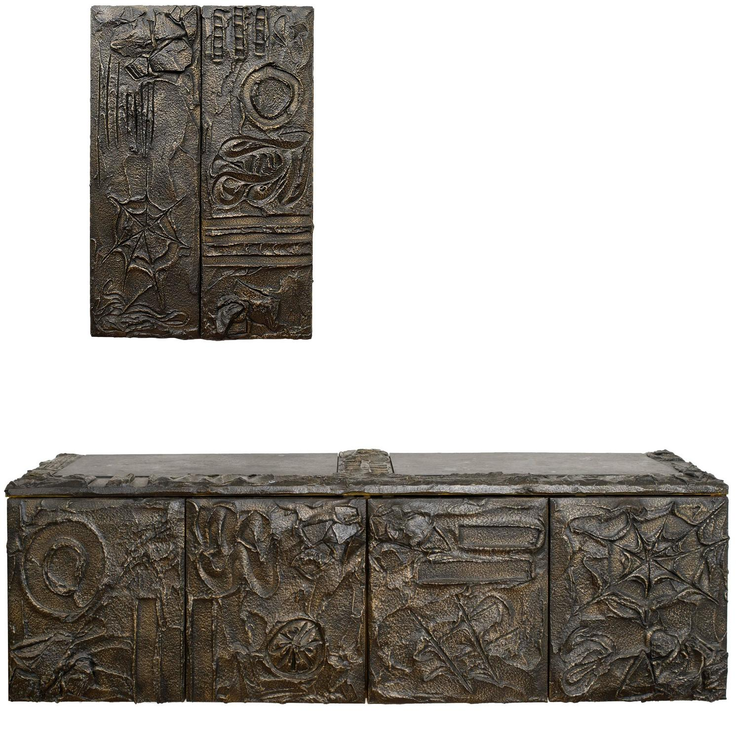 High Quality Paul Evans Matched Pair Of Sculpted Bronze Floating Cabinets W/ Pull Out  Drawers