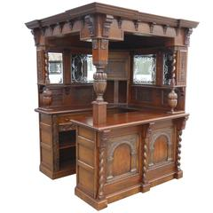 Carved Oak Corner Bar