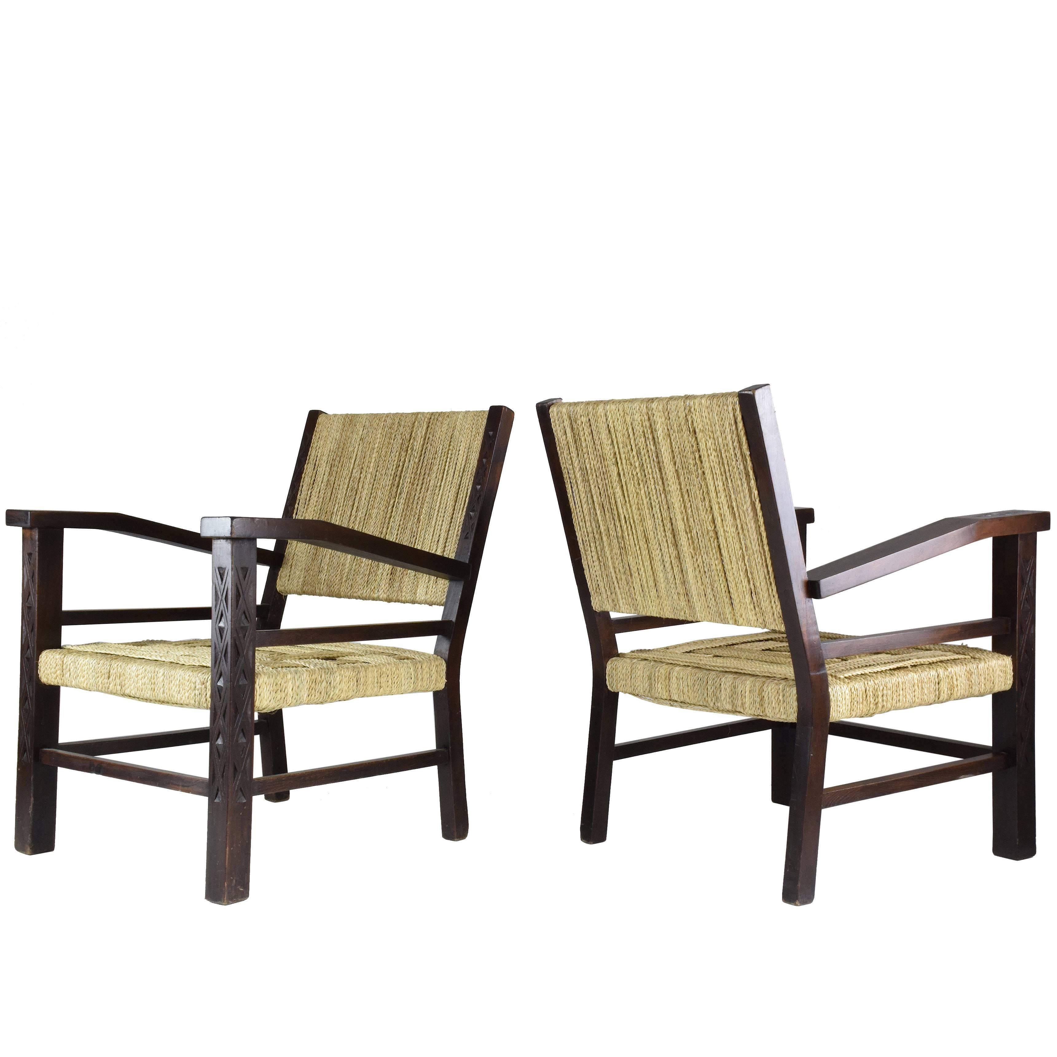 French Pair of Art Deco Armchairs by Francis Jourdain, 1930's