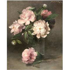 Abbott Handerson Thayer Oil Painting Still Life of Peonies in Glass Vase