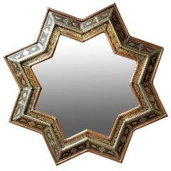 Large Size Moroccan Star Mirror, Metal Inlaid