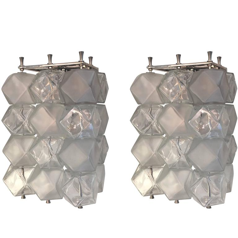 Murano Glass Cube Sconces, Italy, 1960s