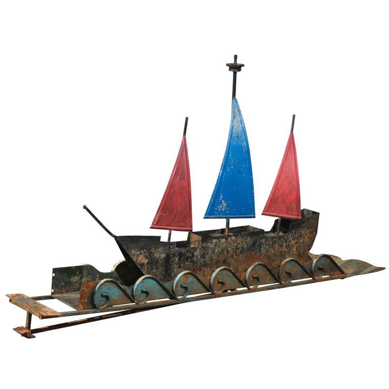 Early 20th Century American Folk Art Ship with Waves Sculpture