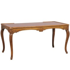 18th-19th Century French Louis XV Style Carved Tric-Trac Table with Leather Top
