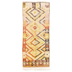 One-of-a-Kind Hand-knotted Mid-Century Tulu Long Rug in Warm Colors. 100% Wool