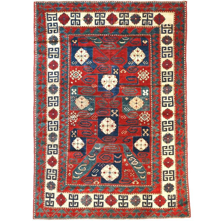 19th Century Pinwheel Kazak Inspired Rug 1