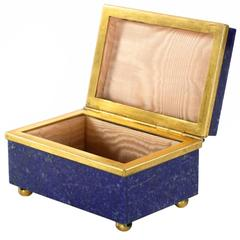Exquisite Lapis Lazuli Gilt Bronze Jewelry Dresser Box, 20th Century