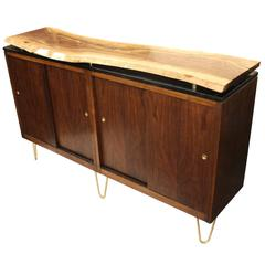 Custom Vintage Mid-Century Modern Live-Edge Walnut Slab Top Credenza TV Stand