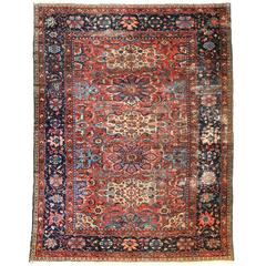 Antique Persian Mahal Rug, circa 1900s