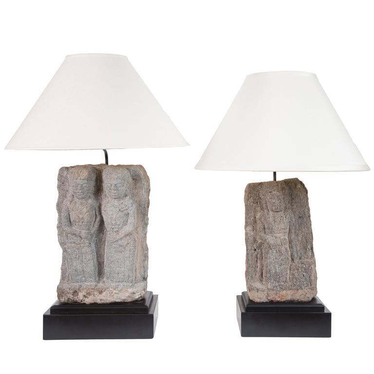 Pair of Custom Stone Fragment Lamps