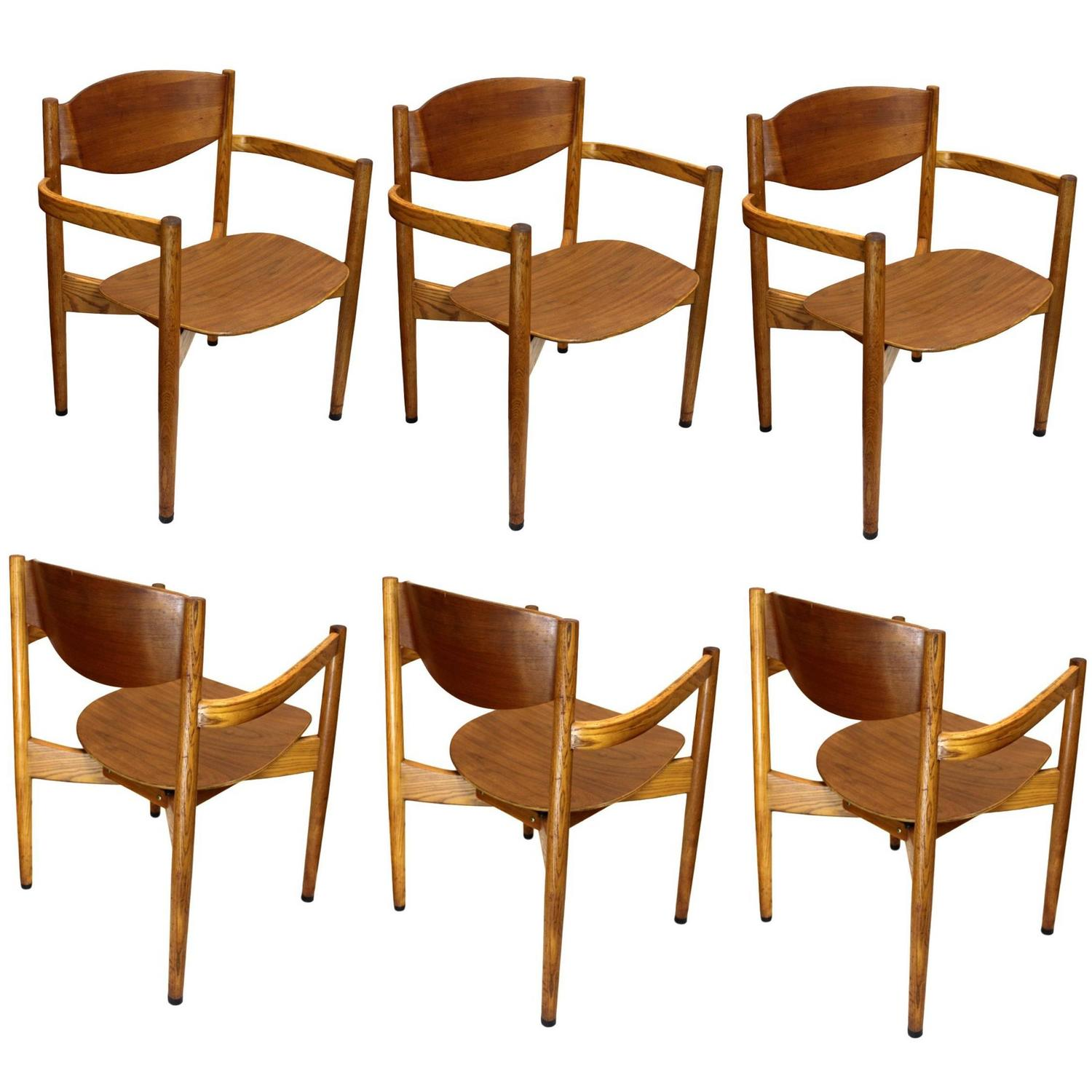 Set of Six Vintage Mid Century Modern Stacking Chairs by Jens