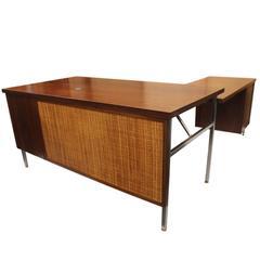 Vintage 1960s Mid-Century Modern Walnut & Chrome Executive Desk by Steelcase