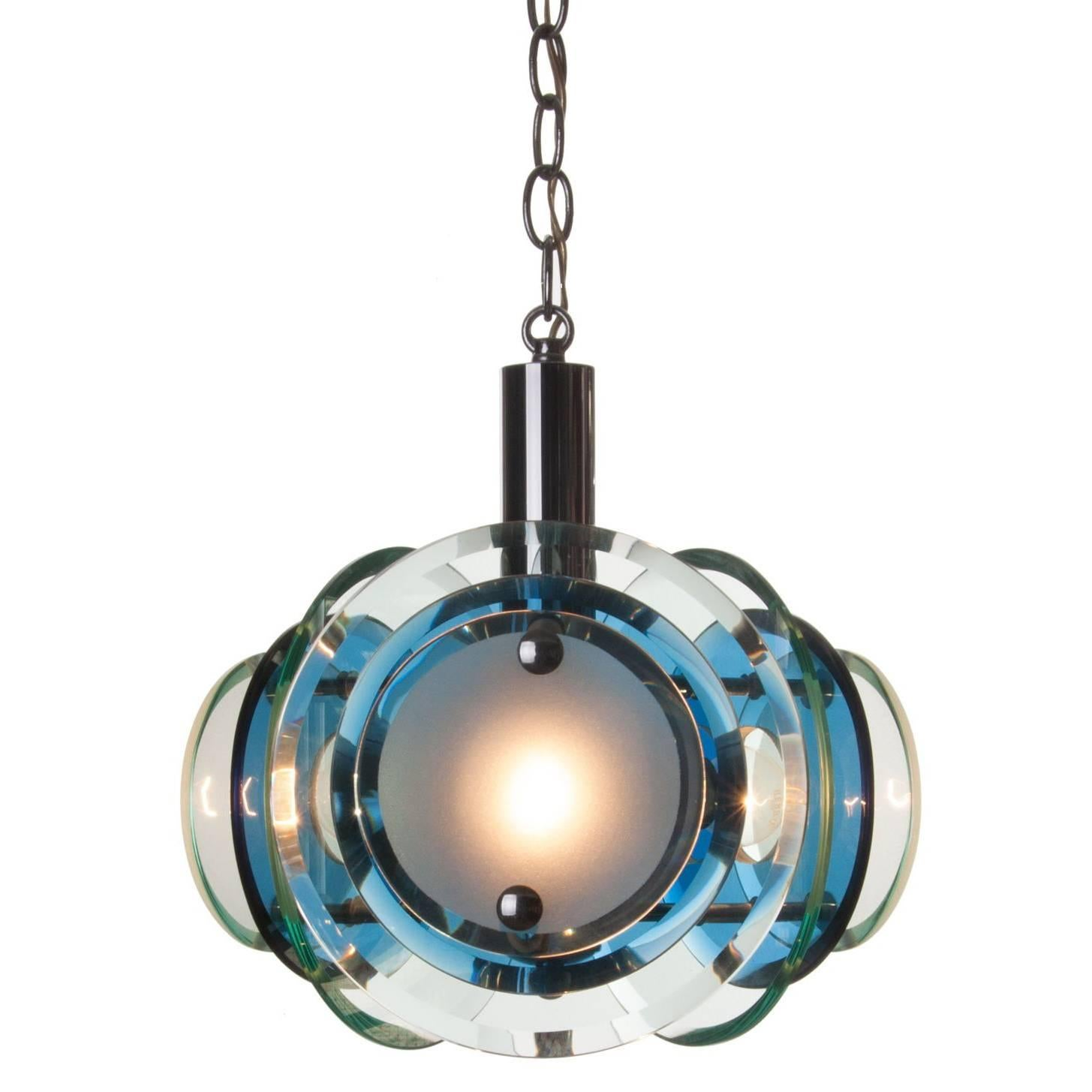 1970s Chrome and Glass Pendant Attributed to Veca