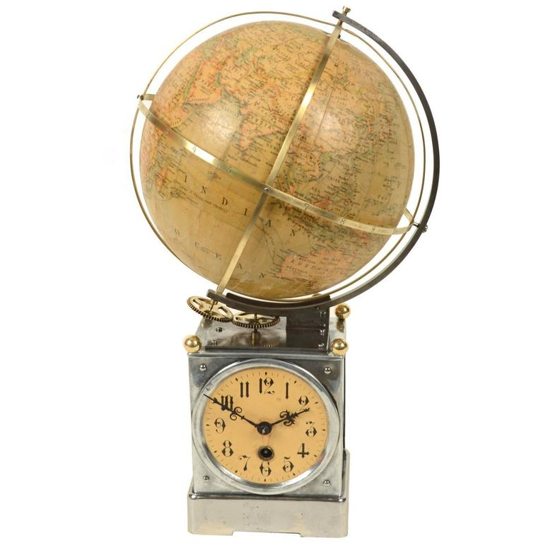 Table Clock Holding a Globe, Germany, Early 1900