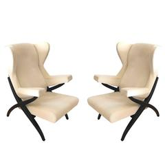 Franco Albini Fiorenza Lounge Chairs beige cotton Velvet