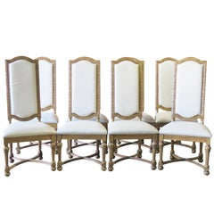 Eight Jonathan Charles High Back Carved Dining Chairs